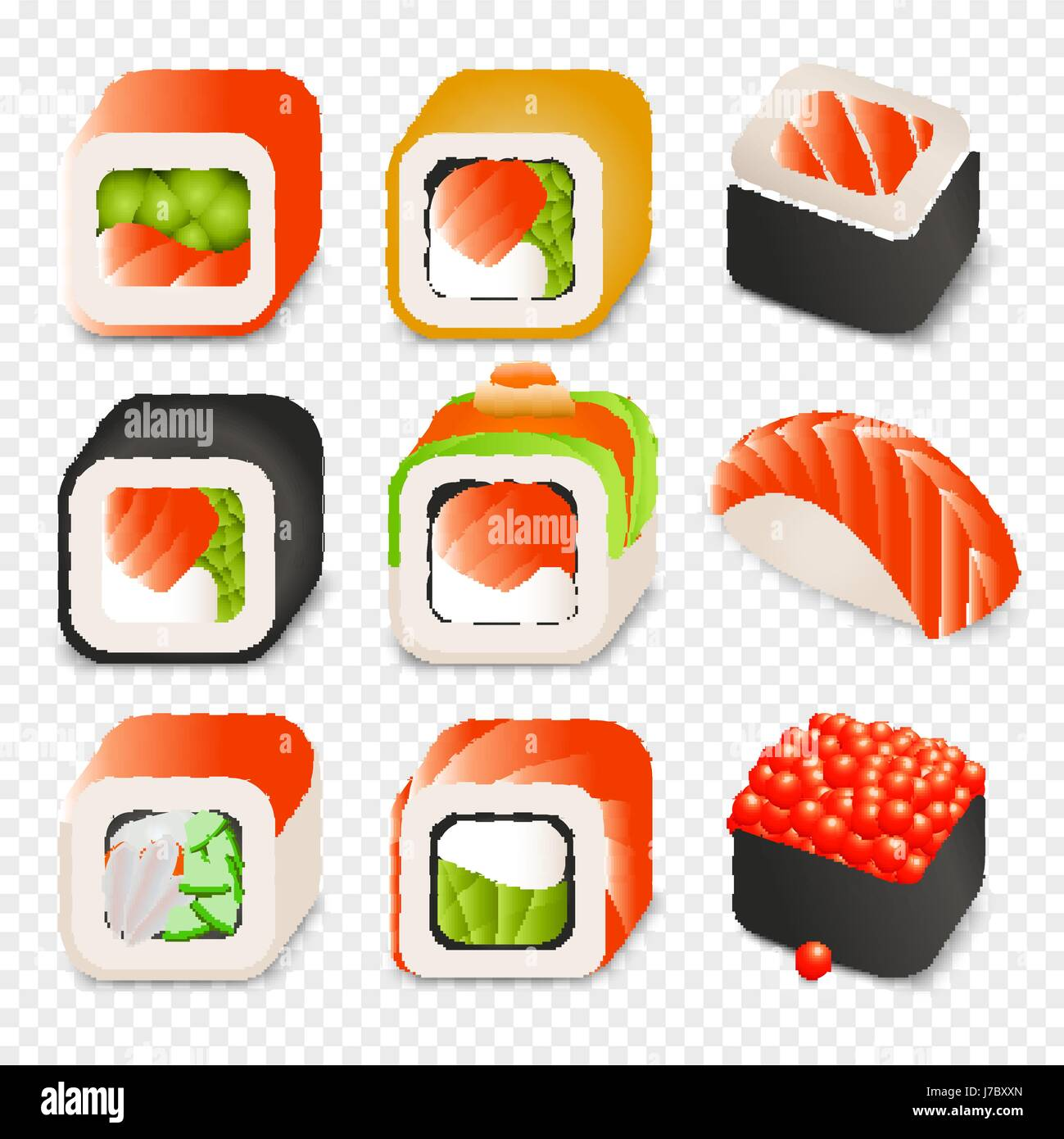 Bunte japanisches Essen Cartoon Stil Design Icons Set mit ...
