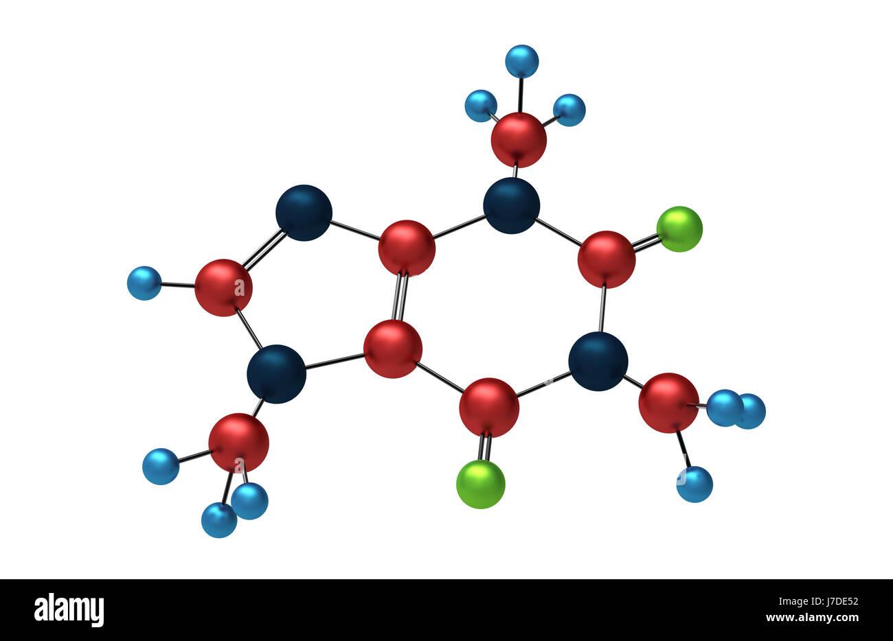 Kaffee Atom Koffein chemische Modell molekularen Molekül Rendern 3d ...