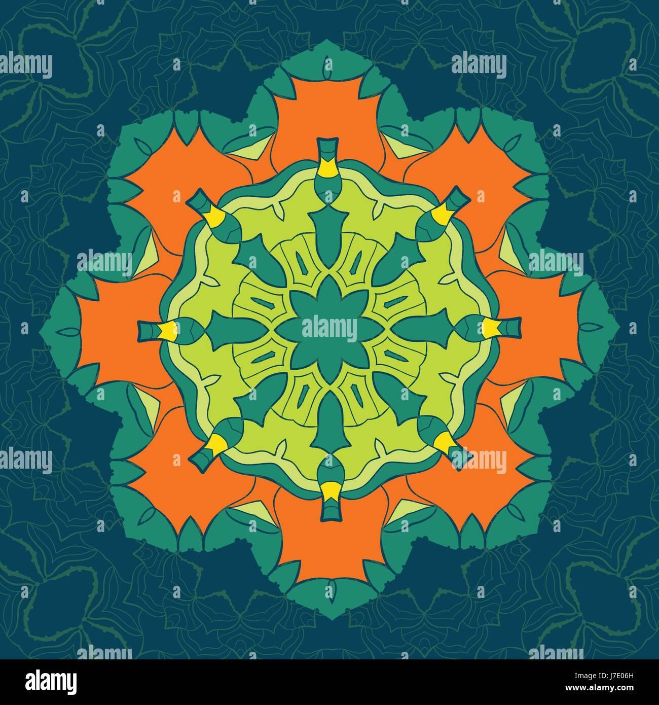 Grün und Orange Vektor Mandala. Dekor für Ihr Design, Spitze ...