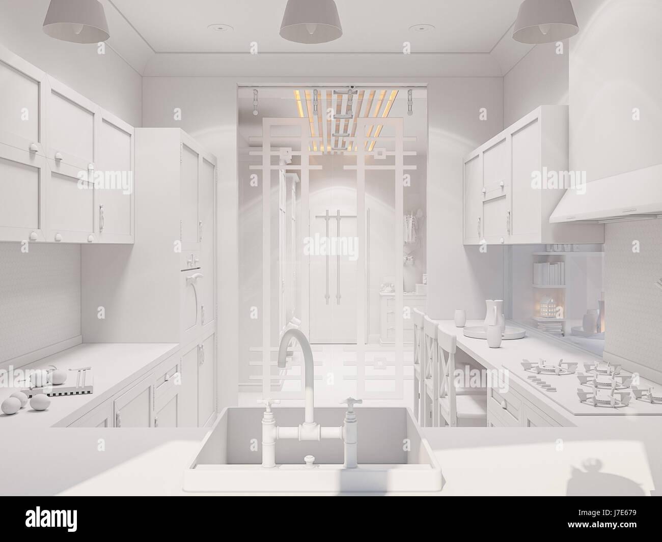 3D Darstellung der Innenarchitektur der schönen Küche im klassischen ...