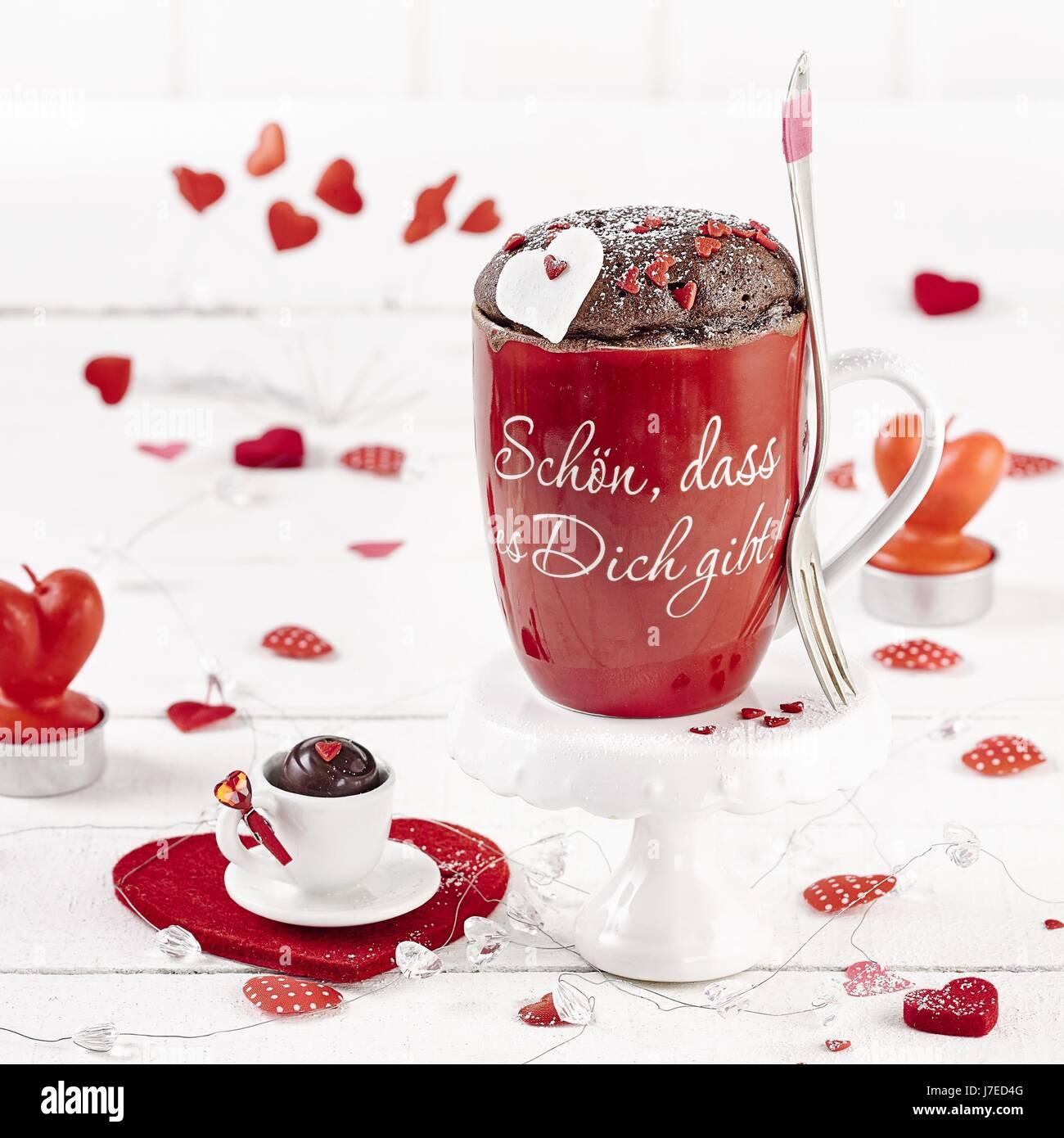 Becher Kuchen Mein Valentinsgruss Mikrowelle Stockfoto Bild