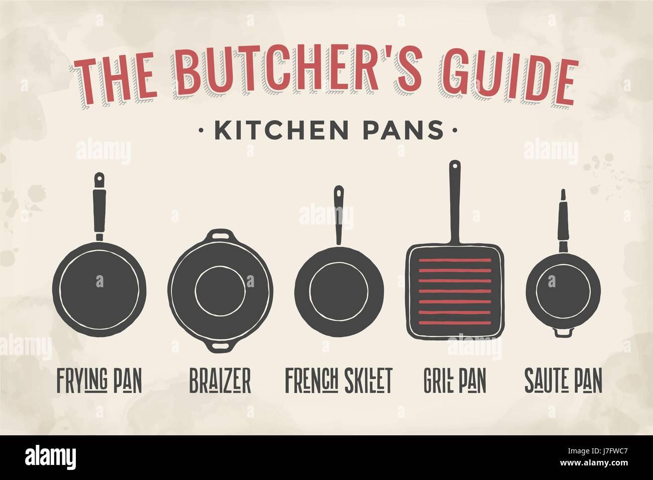 Satz von Küche Pfannen. Poster Geschirr - Pfannen, Grill, Topf ...