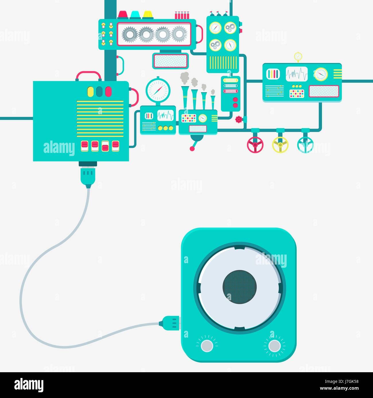 Stromversorgung von einem Lautsprecher-Zubehör. Lautsprecher an eine Maschine angeschlossen. Maschinen produzieren Stockbild