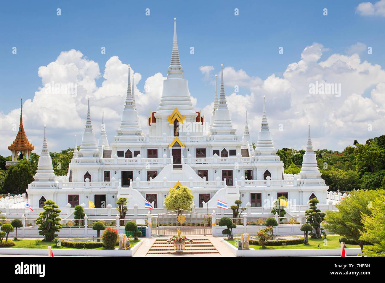 wichtiges Lanmark Pagode Wat Asokaram Tempel in samutprakarn Stockbild