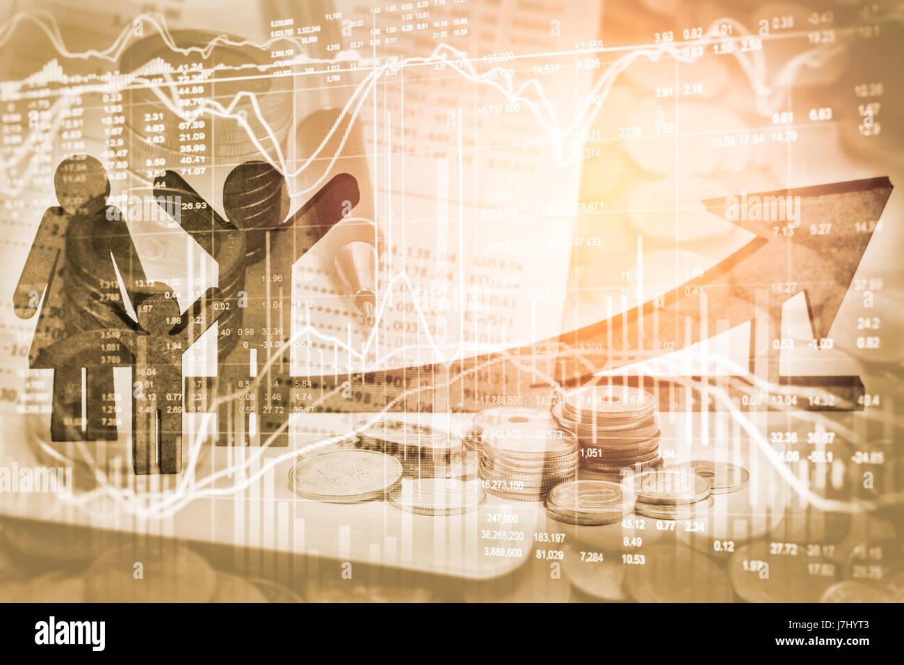 Doppelte Belichtung Geschäft Requisiten auf Lager finanzielles Wachstum. Wirtschaft wieder verdienen Konzept. Stockbild