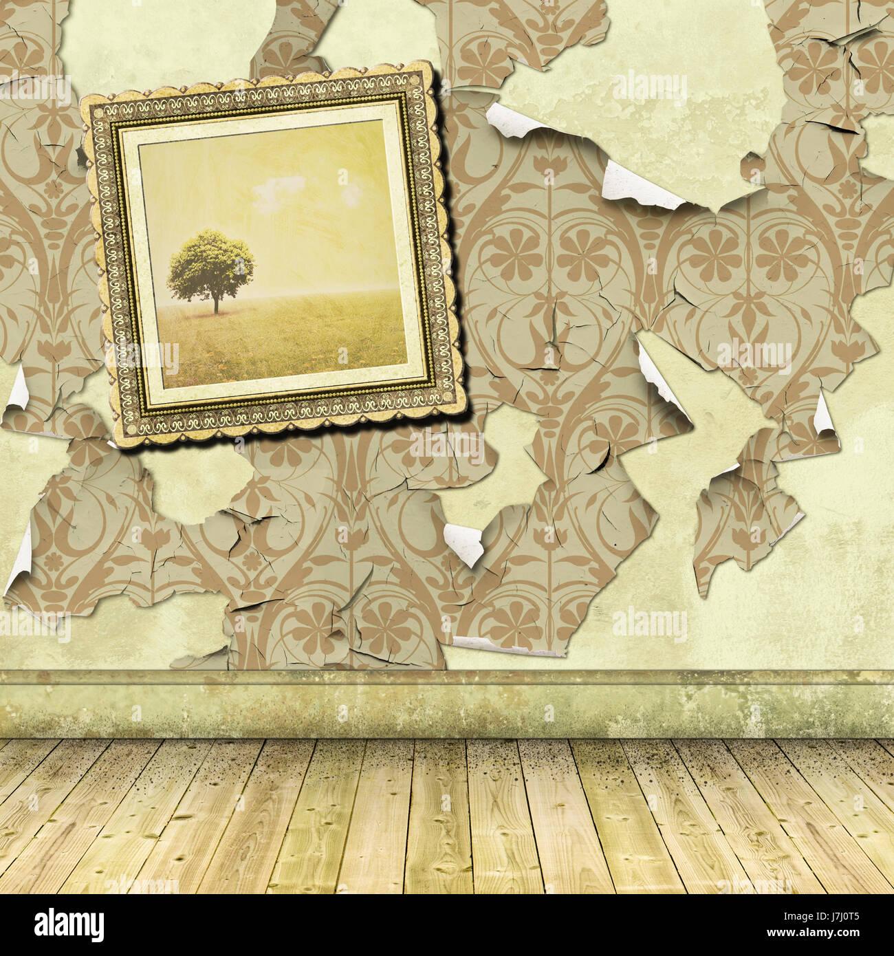 Wand Tapeten Zerrissen Peeling Zimmer Wand Zerfallen Schmutzige Getragene  Altertuemlich Veraltet