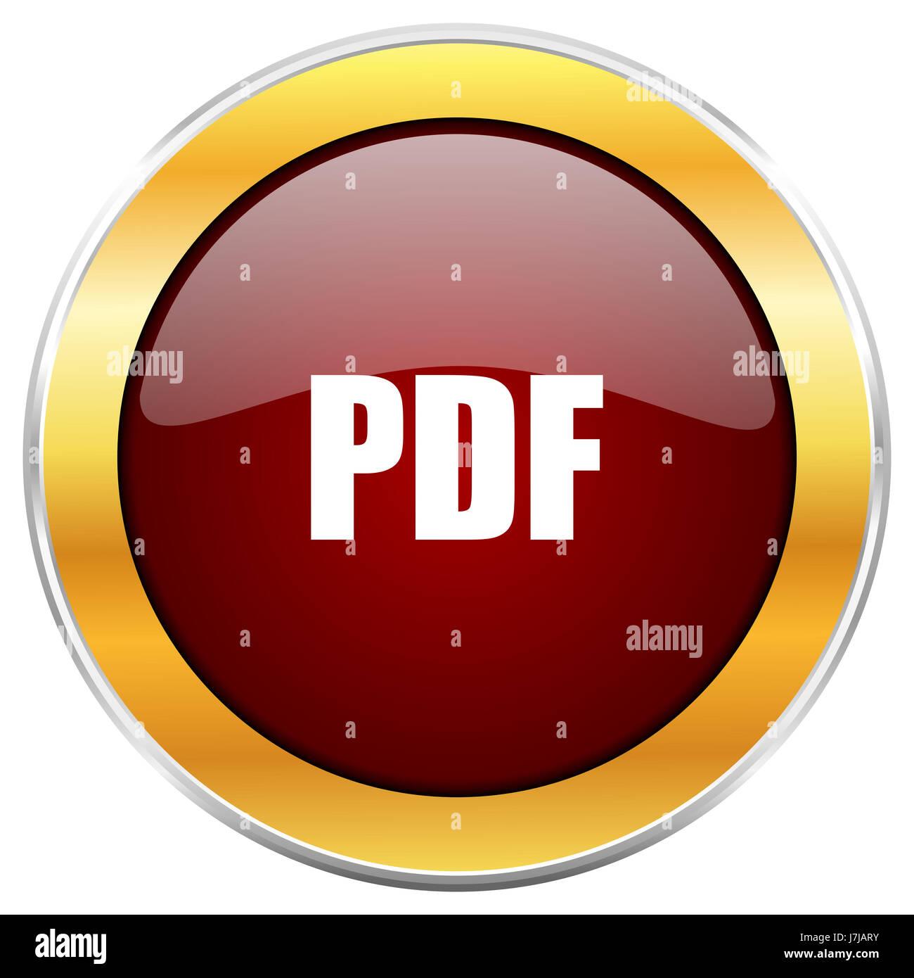PDF-rot Web Icon mit goldenen Rahmen isoliert auf weißem Hintergrund ...