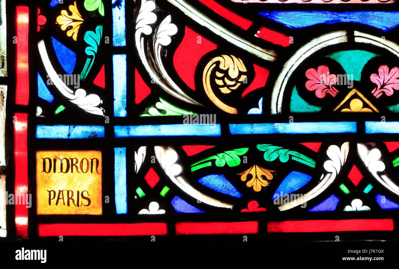 Adolph Didron von Paris, Unterschrift, Name auf Glasfenster, 1859, Feltwell Kirche, Norfolk, England, Vereinigtes Stockbild