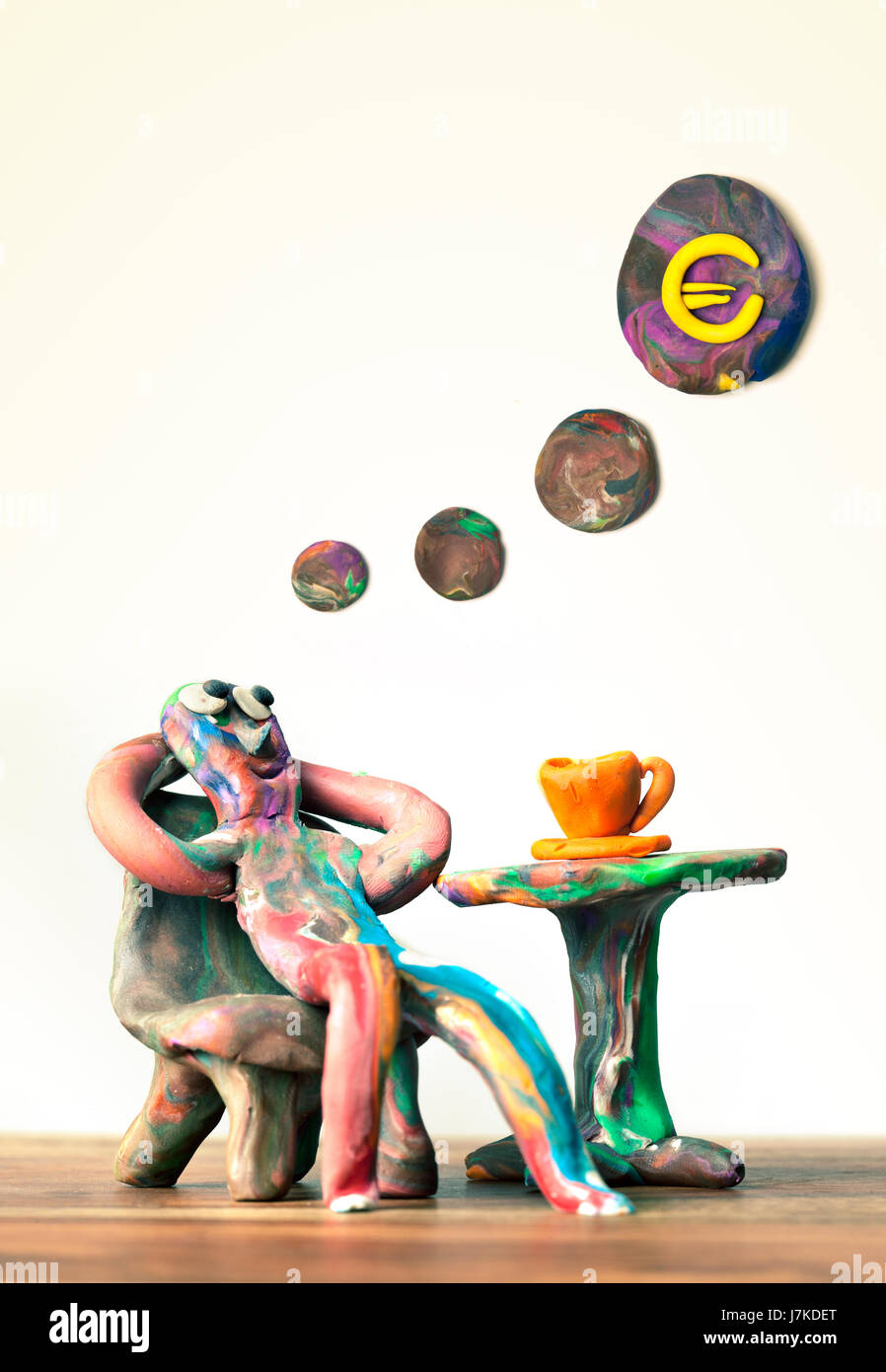 Euro-Wunsch kneten Wunschtraum aussehen Inspiration plötzliche Eingebung dachte Stockfoto
