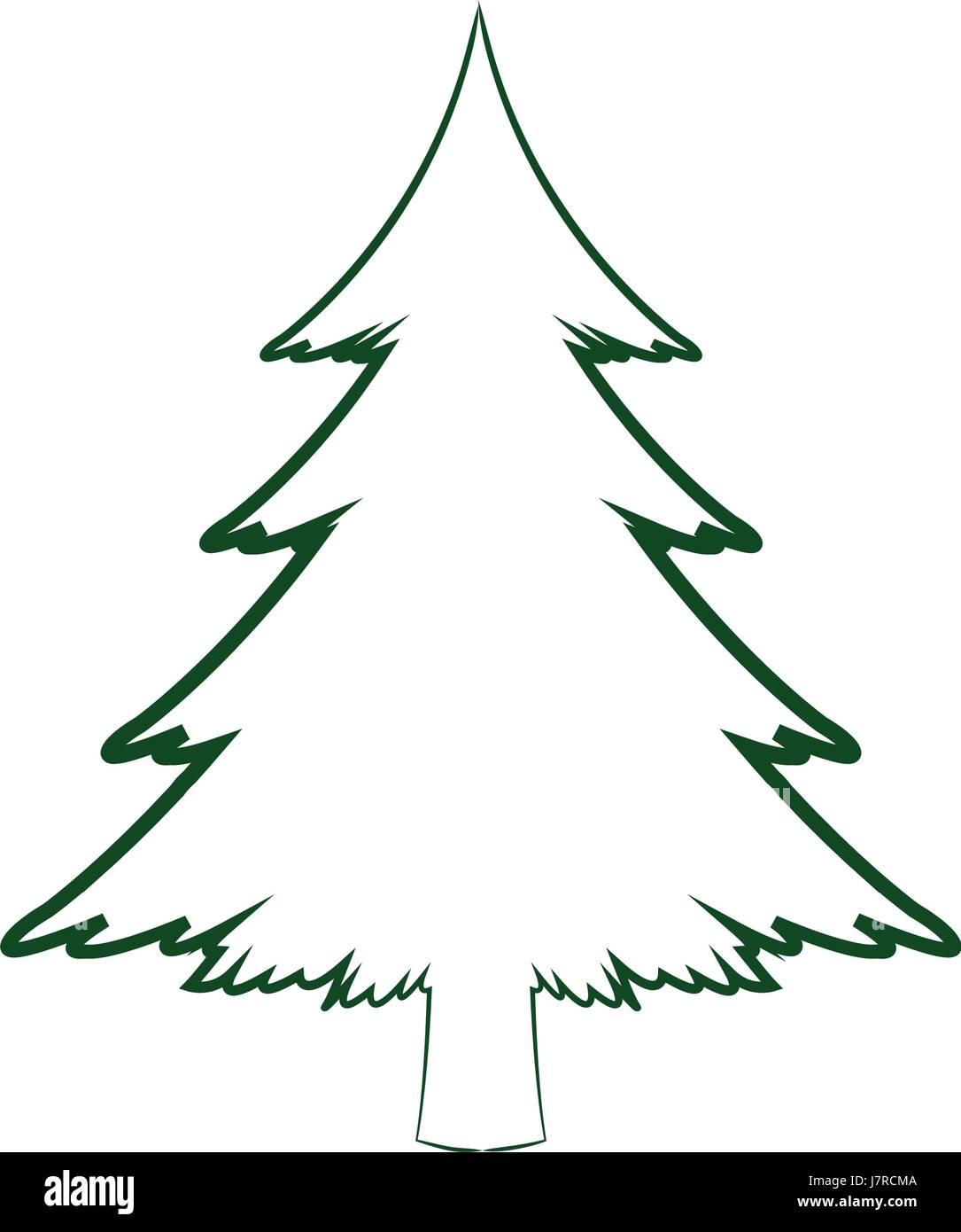grüne Silhouette Kiefer Baum Weihnachten Feier winter Stock Vektor