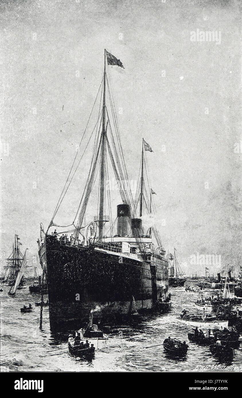 White Star Line RMS Teutonic als ein bewaffneter Kreuzer 1889 Spithead überprüfen Stockbild