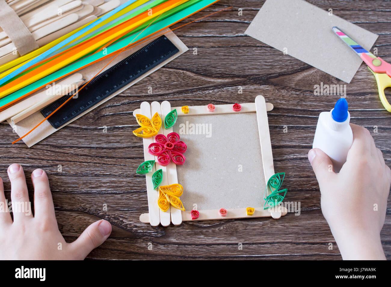 Kinder Geschenk von Holzstäbchen Fotorahmen, Geburtstag Grußkarte ...