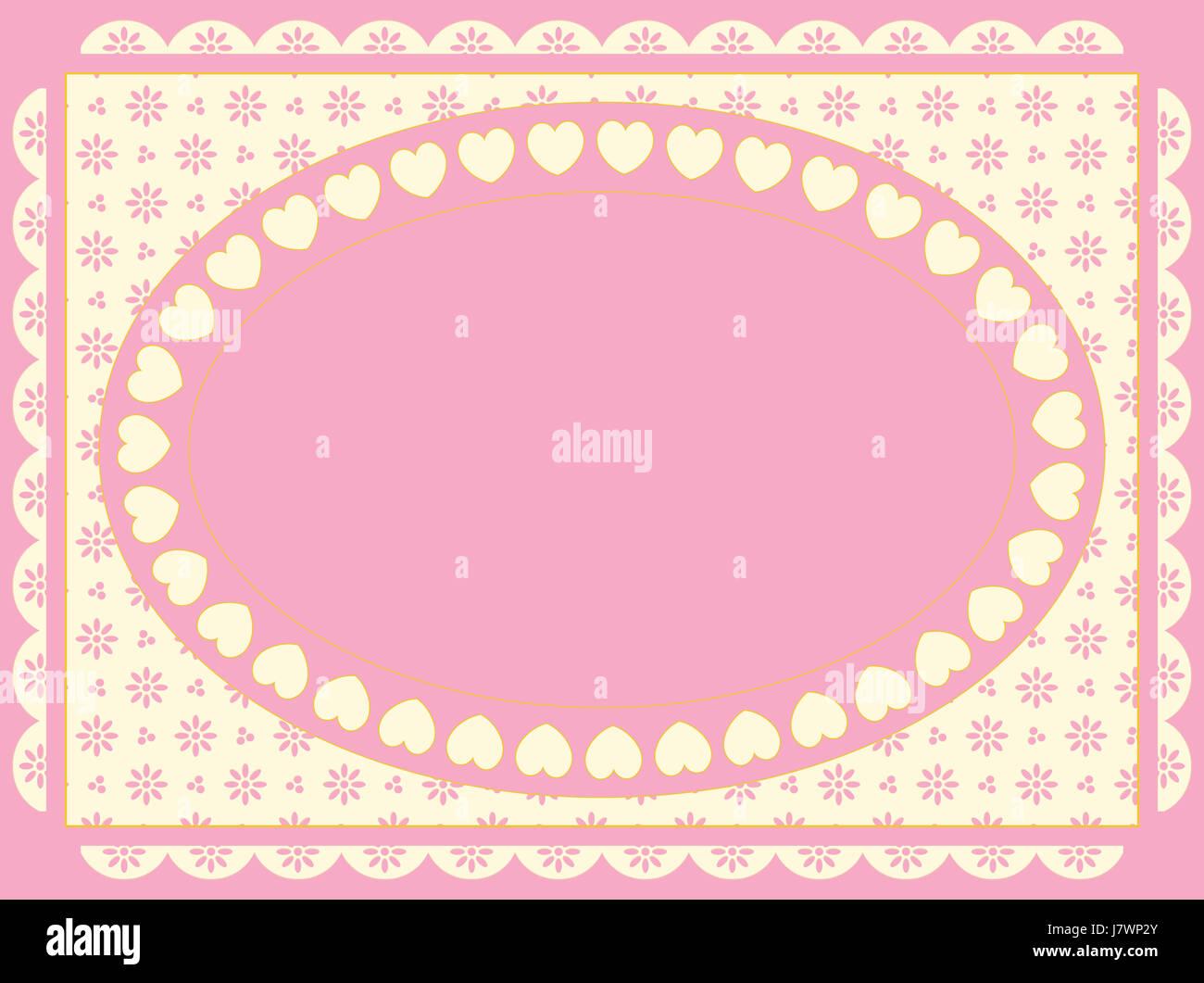 Frame Valentine Herzen Rahmen rosa Streifen Streifen Grenze Raum ...