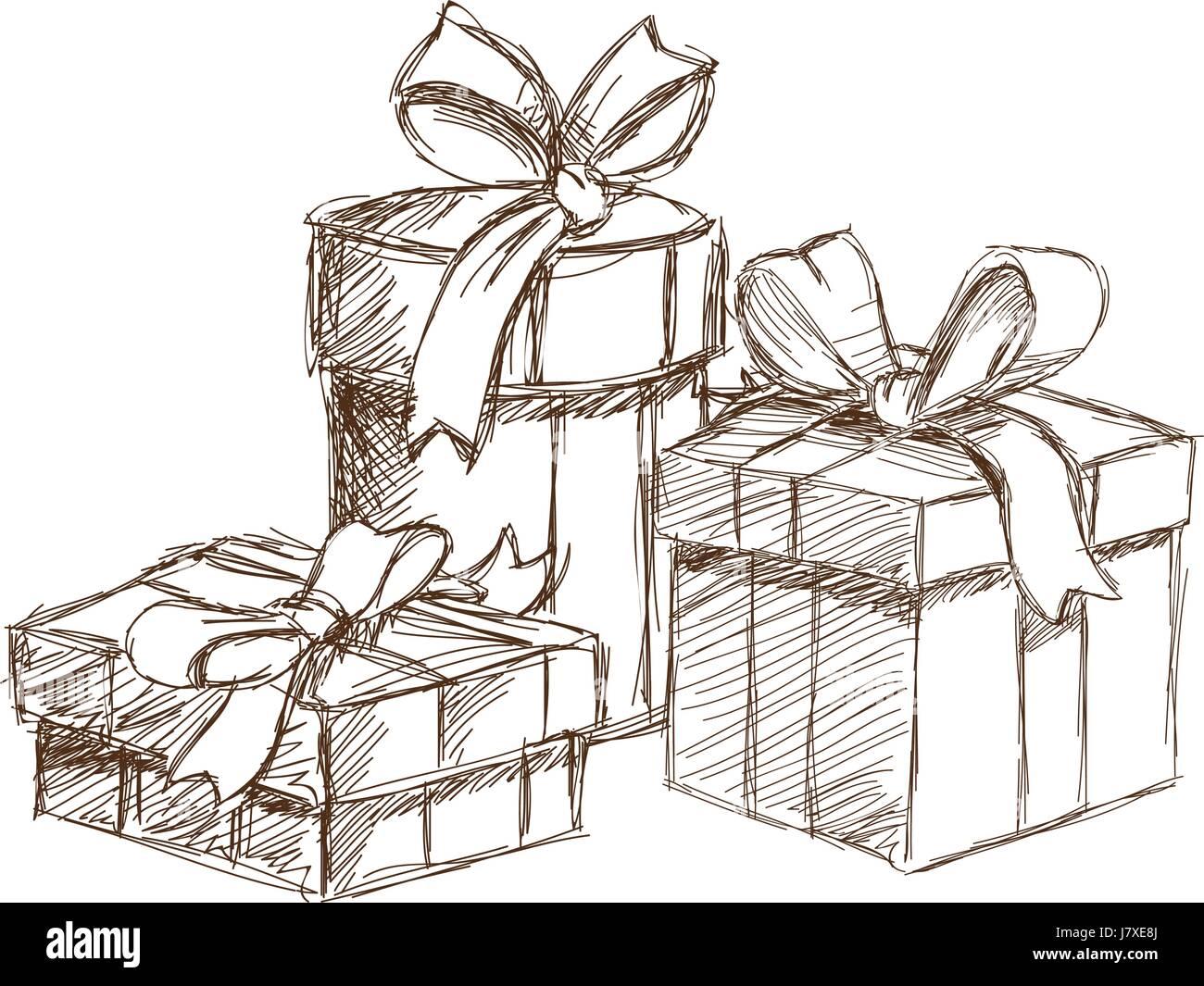 Skizzieren Sie Weihnachten Geschenk-Schachteln verpacken. Vintage ...