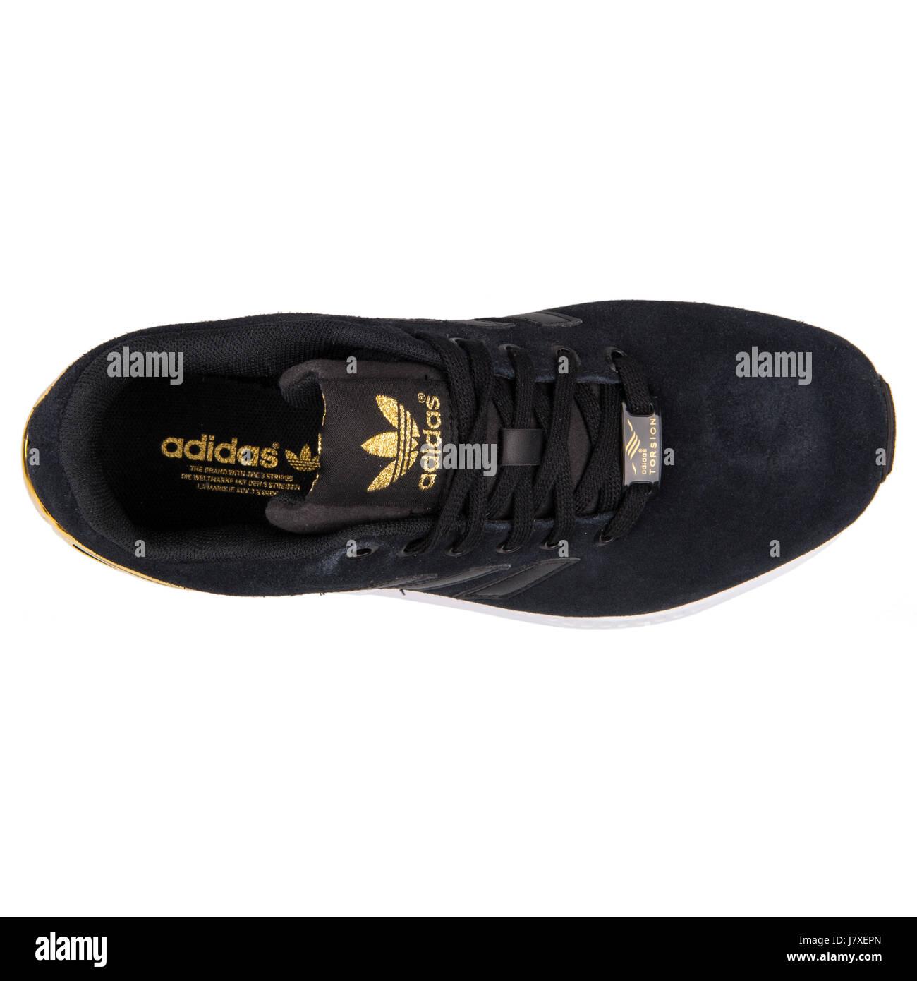 cfd8cc597eec52 Adidas ZX Flux W Damen Sneakers von Schwarz und Gold - B35319 Stockbild