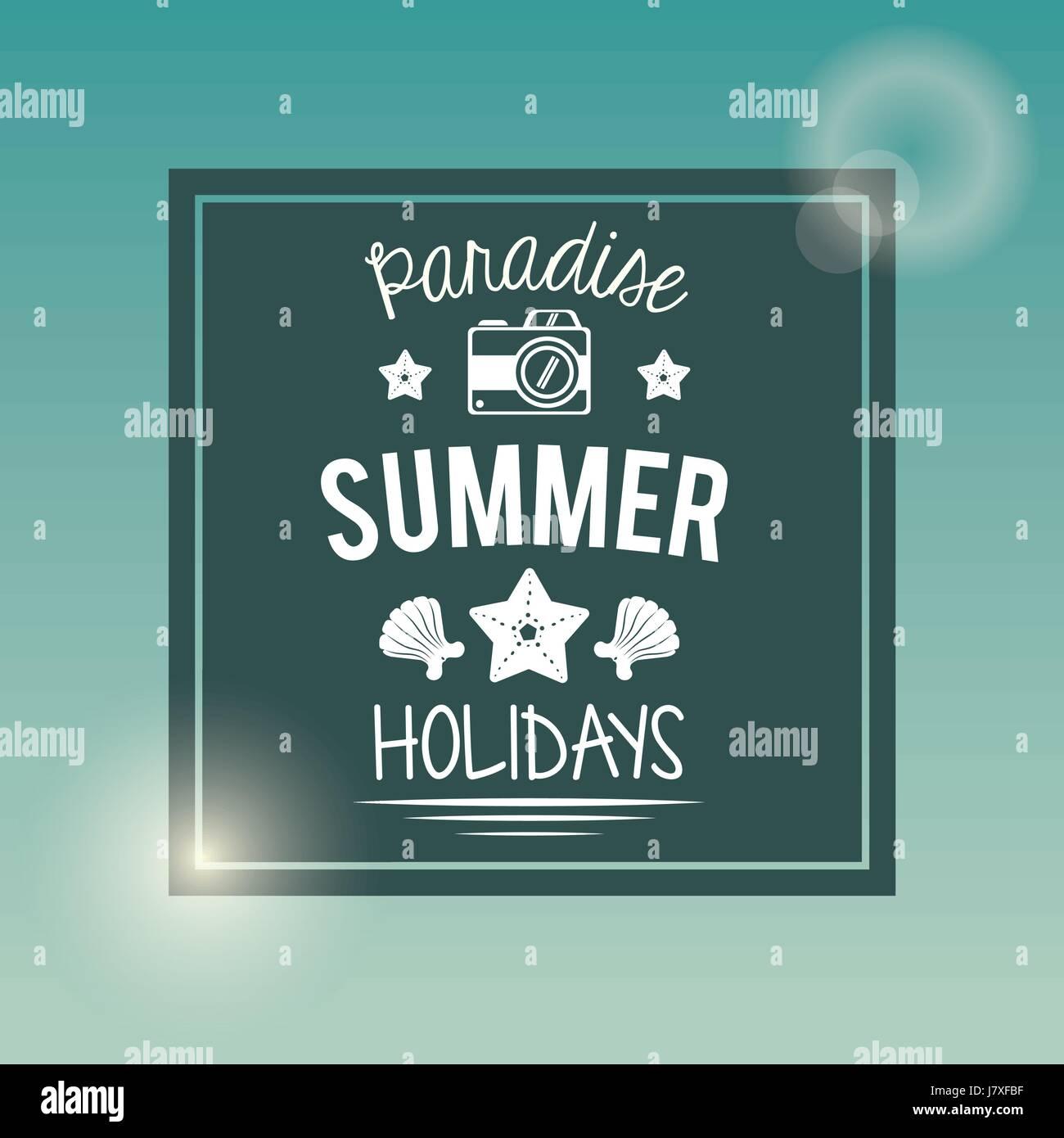 Poster mit quadratischen Rahmen Logo Text Paradies Sommer Urlaub mit ...