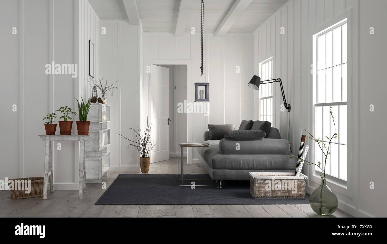 Gemutliche Rustikale Weisse Holz Wohnzimmer Interieur Mit Einem Grossen Bequemen Sofa Lampe Topfpflanzen Teppich Und Zwei Grosse Helle Fenster 3d Rendering Stockfotografie Alamy