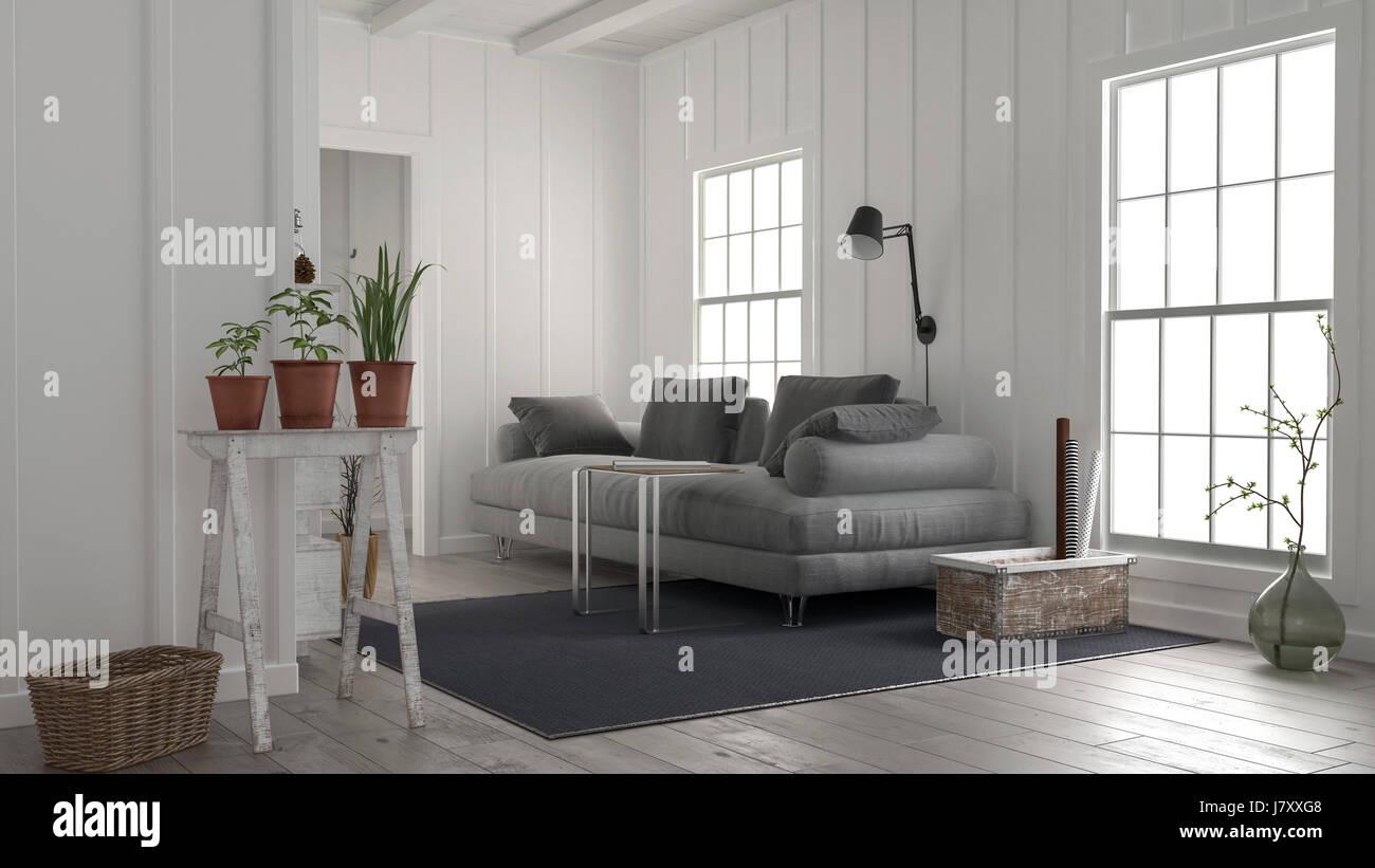 Gemütliche rustikale weiße Holz Wohnzimmer Interieur mit einem ...