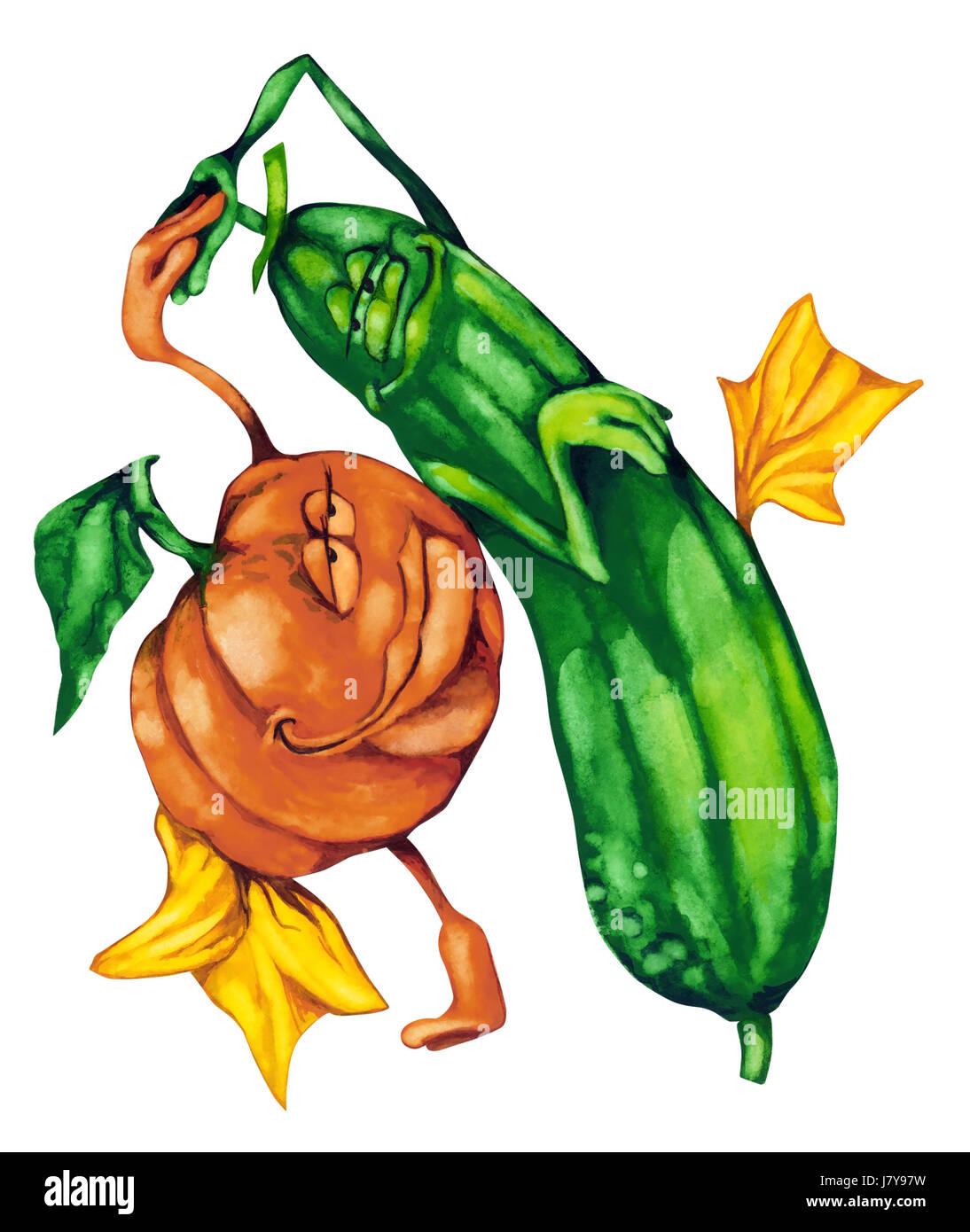 Gesundheit Malerei Illustration Gurken Gemüse Kürbis Liebe verliebt ...