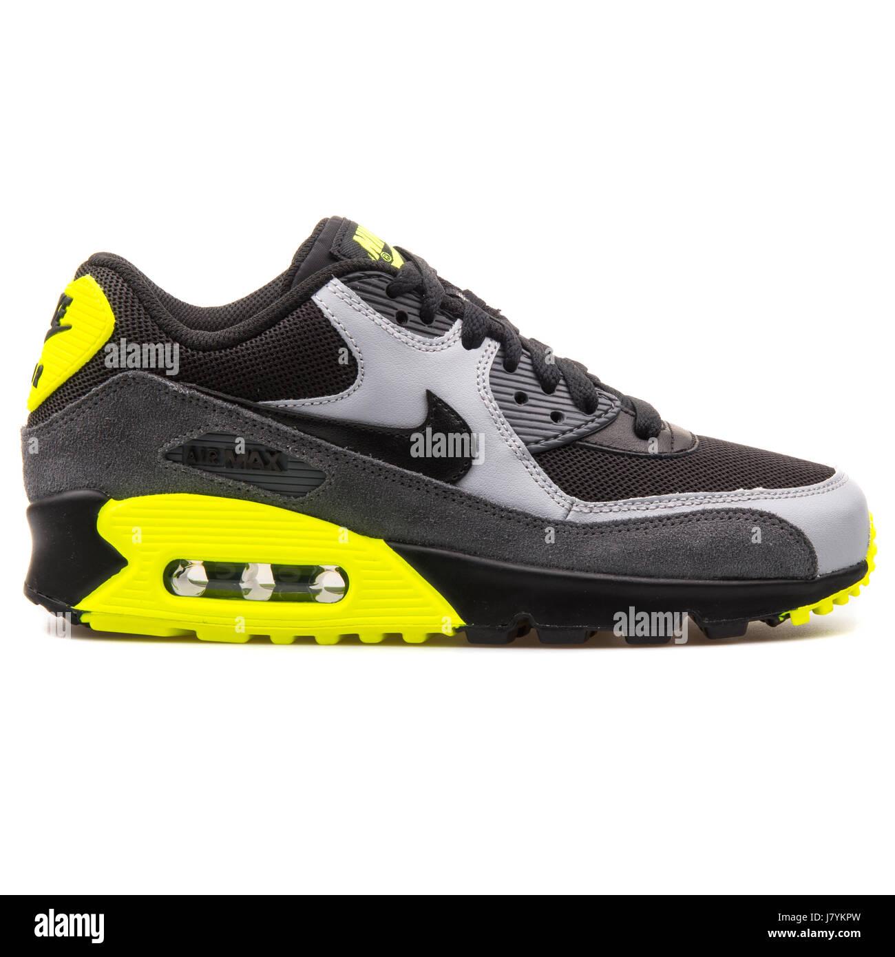 brand new 256f2 2f65a Nike Air Max 90 Mesh (GS) Jugend schwarz grau und gelb Leder-Sneakers -  724824-002