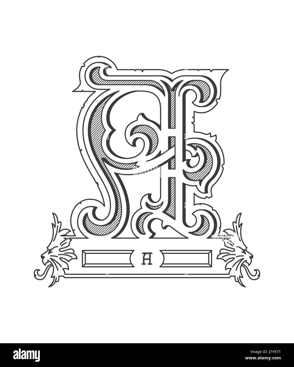Vektor-Illustration über schwarz auf weiß Alphabet Buchstaben A ...