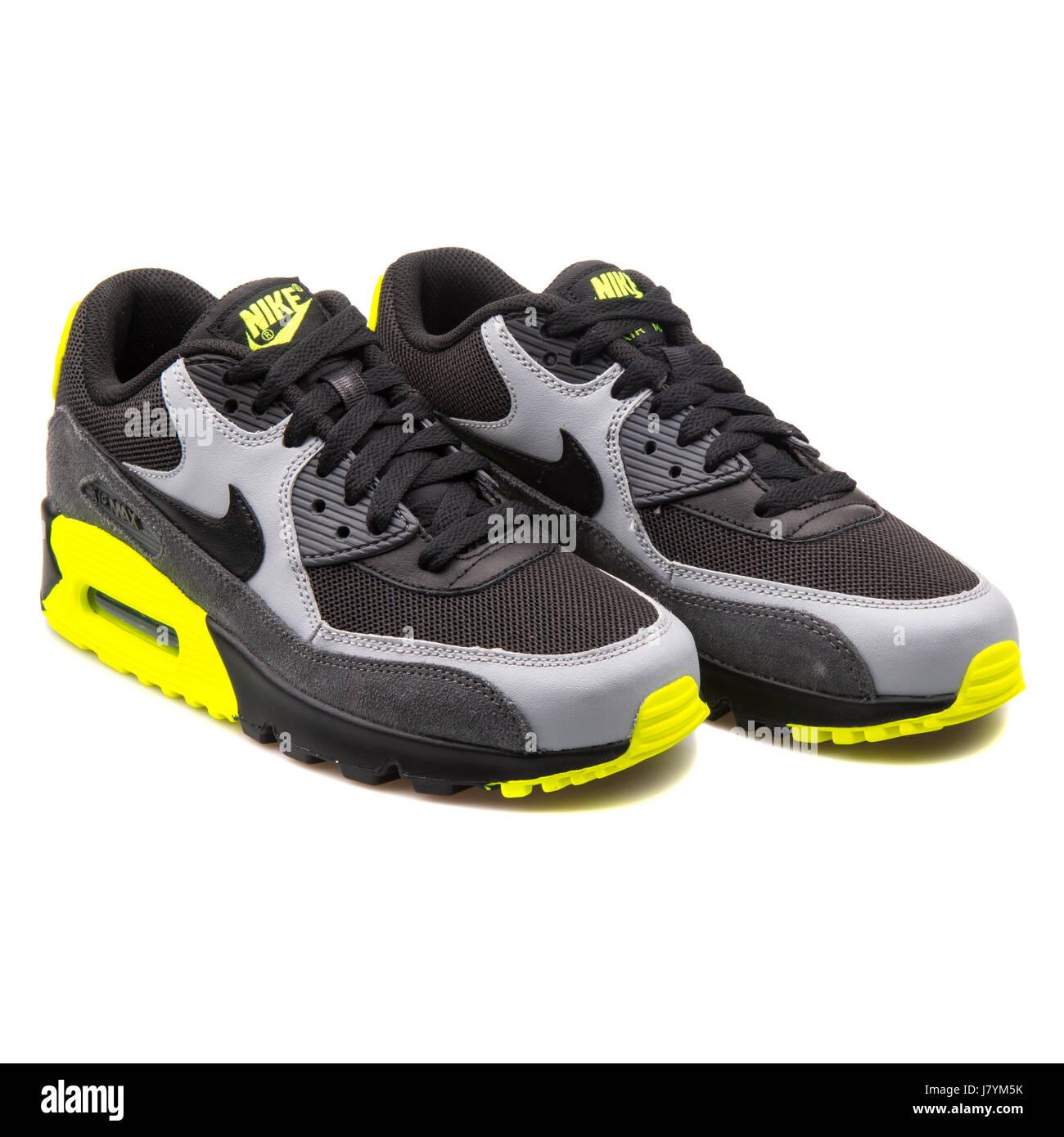 new concept 09094 12bf3 Nike Air Max 90 Mesh (GS) Jugend schwarz grau und gelb Leder-Sneakers