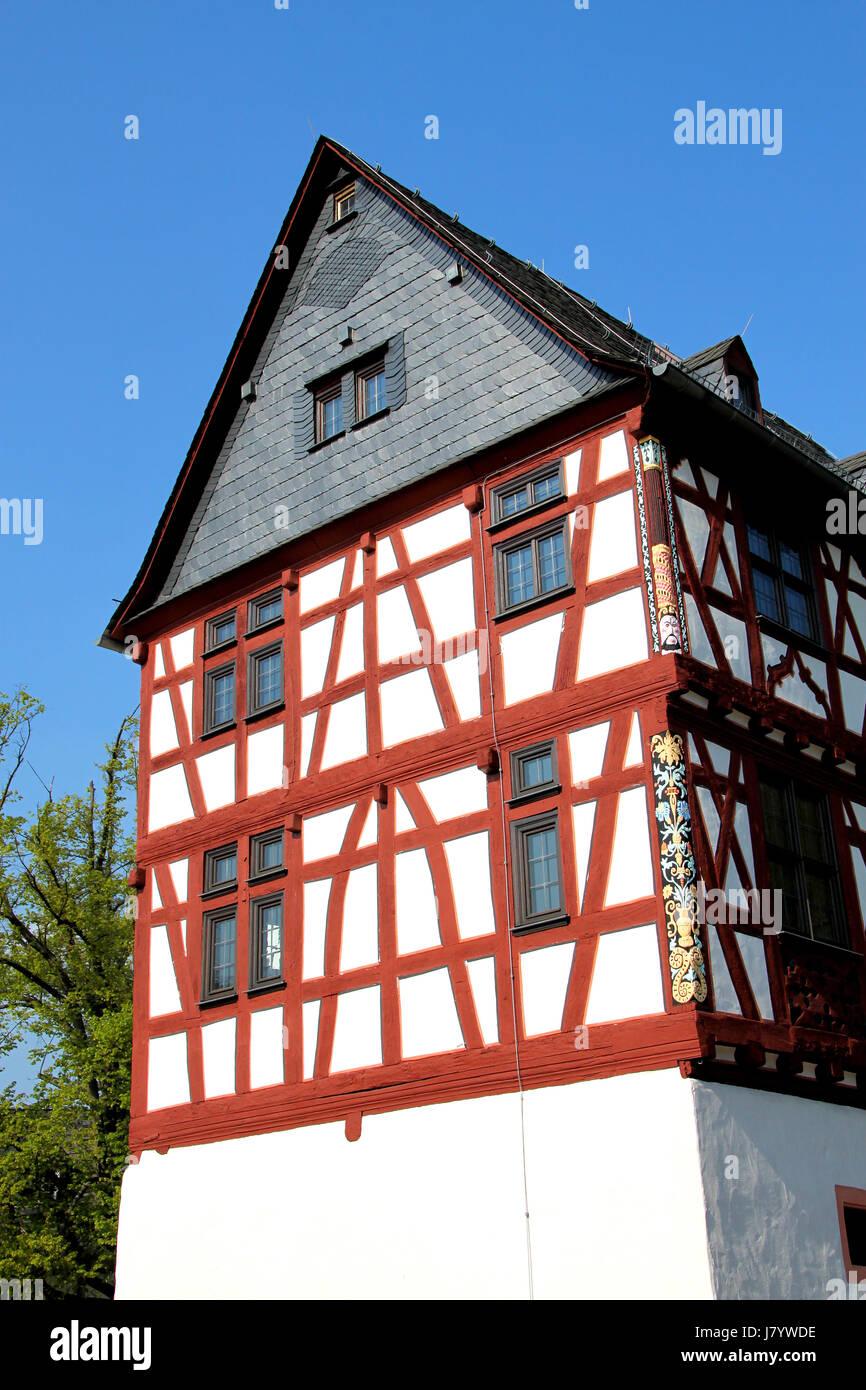 Haus Gebäude Rahmenarbeit Rathaus Hessen Giebel Ende blau Hausbau ...