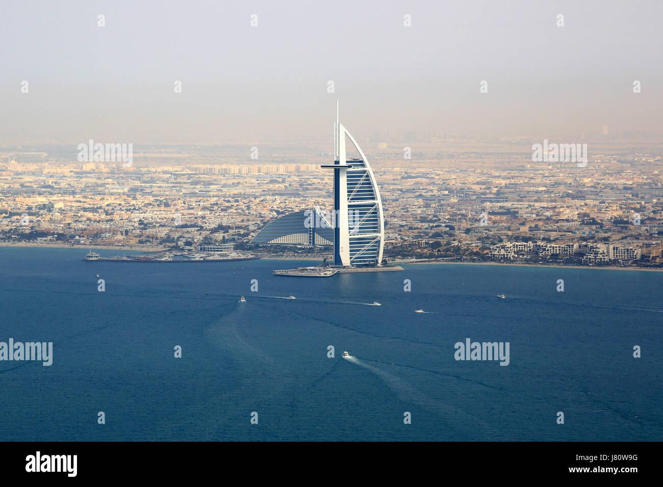 Dubai Burj Al Arab Hotel Meer Luftbild Fotografie Vereinigte Arabische Emirate Stockbild