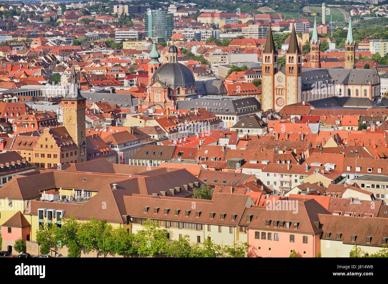 Deutschland, Bayern, Würzburg, Blick von der Festung Marienberg Festung zeigt die Alstadt oder die Altstadt Stockbild