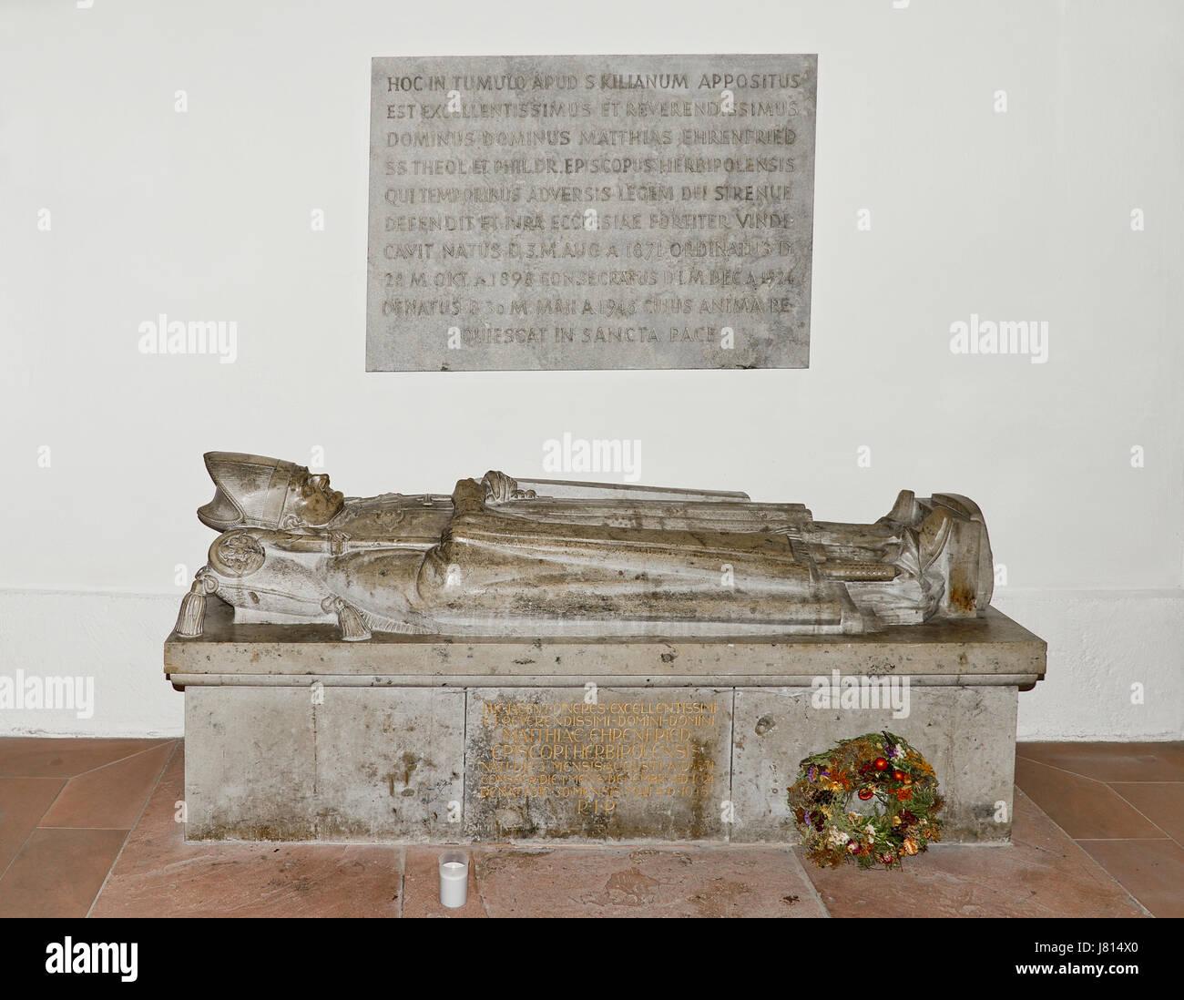 Deutschland, Bayern, Würzburg, Neumünster Kirche, Grab des Heiligen Kilian. Stockbild
