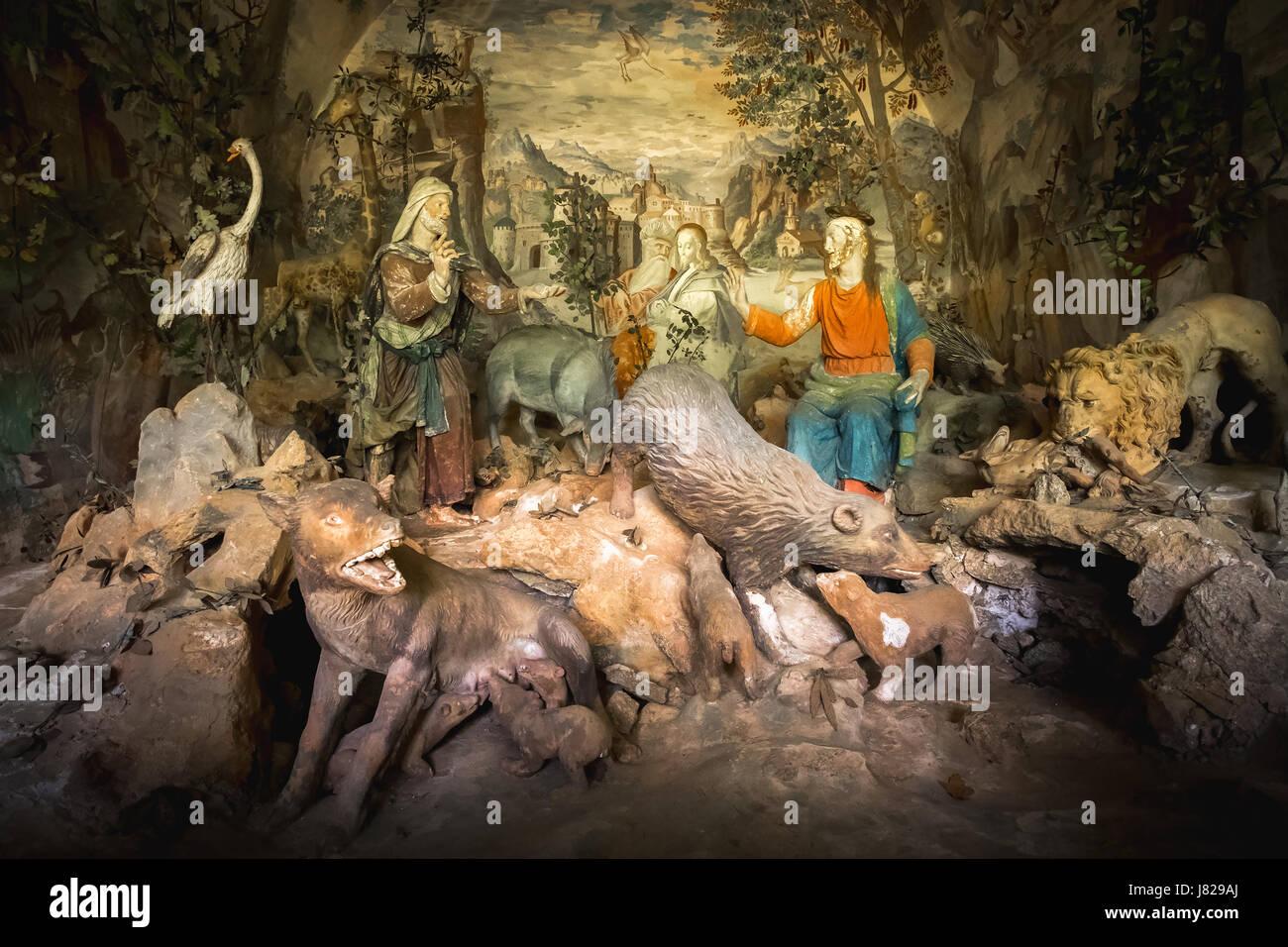 Sacro Monte di Varallo, Piemont, Italien, 23. Mai 2017 - eine biblische Szene Darstellung einer Terrakotta Jesus Stockfoto