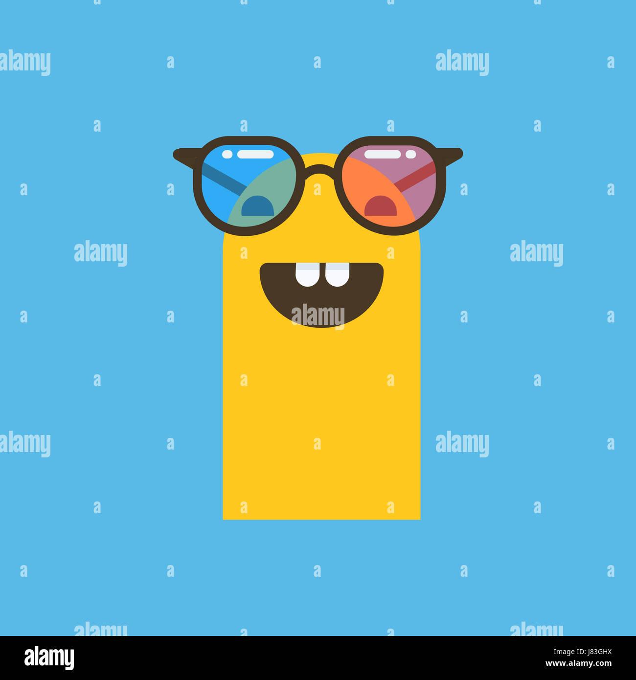 b80e802f787d6a ein lachendes Emoticon mit Sonne Brille Abbildung auf einem einfarbigen  Hintergrund Stockbild