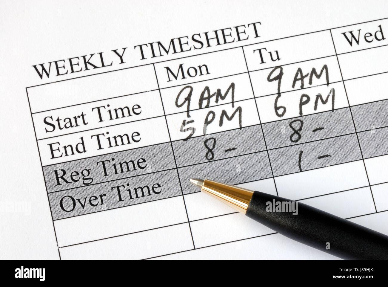 Payroll Time Sheet Sheet Stockfotos & Payroll Time Sheet Sheet ...