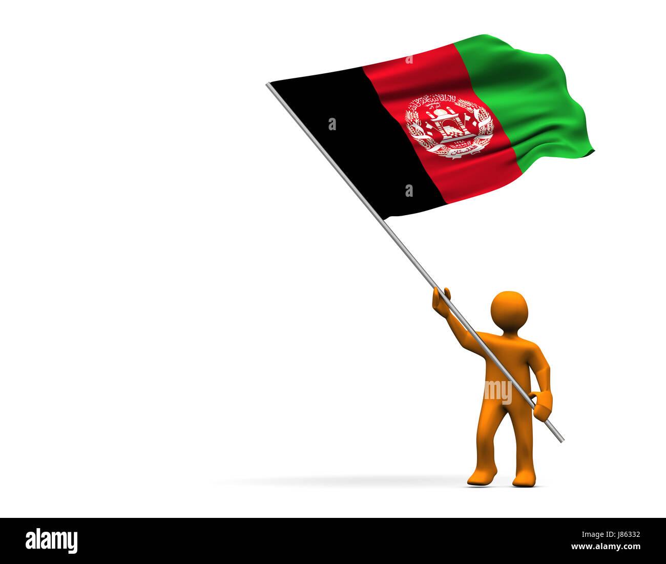 Asien Fahne Zentralen Afghanistan Cartoon Mann Sport Sport Farbe