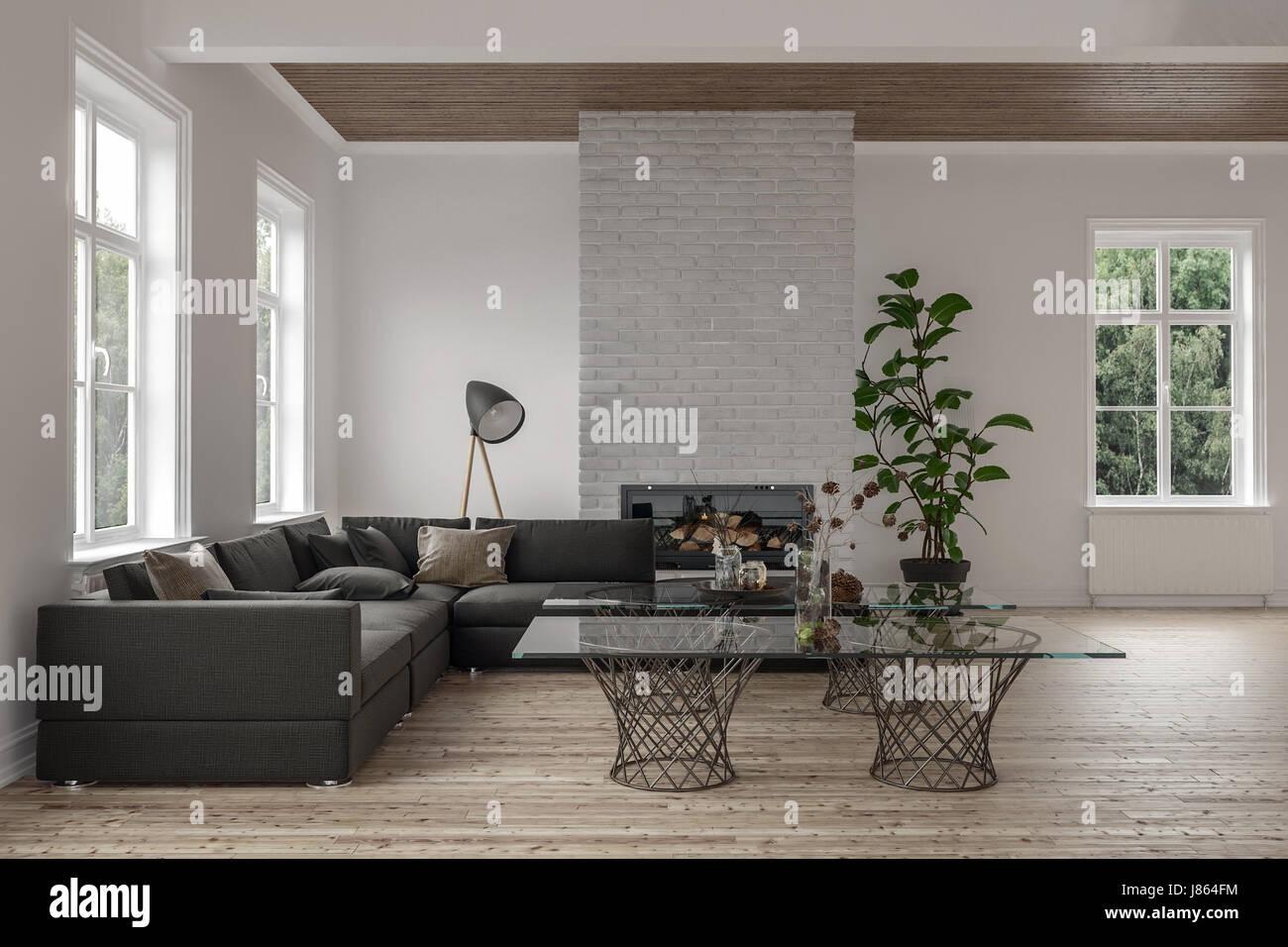 Moderne Fußboden Wohnzimmer ~ Moderne wohnzimmer interieur mit feuer einfügen und hölzernen