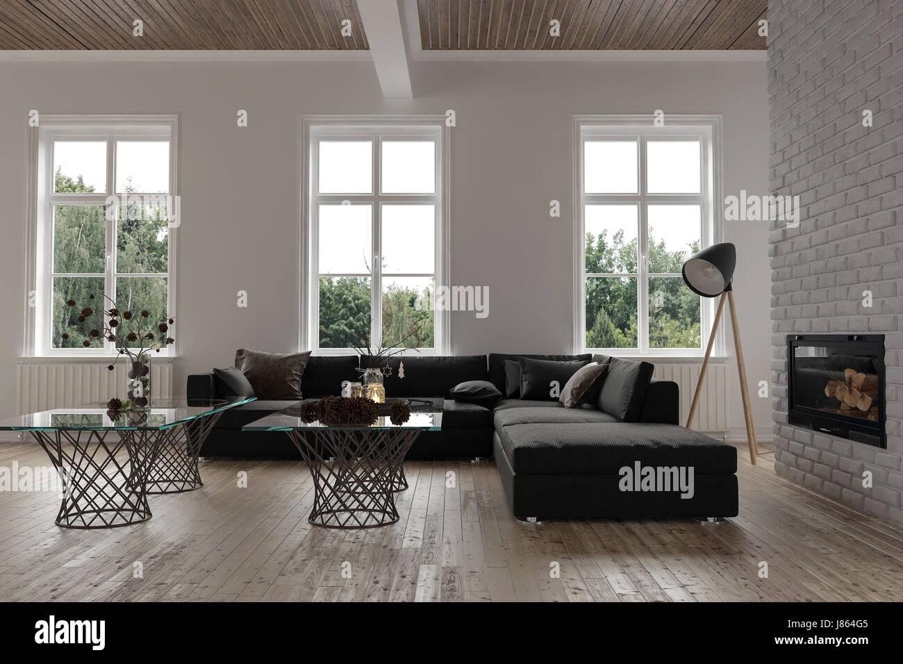 Gemütliche Sitzecke In Einem Modernen Wohnzimmer Interieur Mit Drei  Fenstern, Einem Großen Modulares Sofa, Lampe Und Glas Couchtische Vor Eine  Schornstein  ...