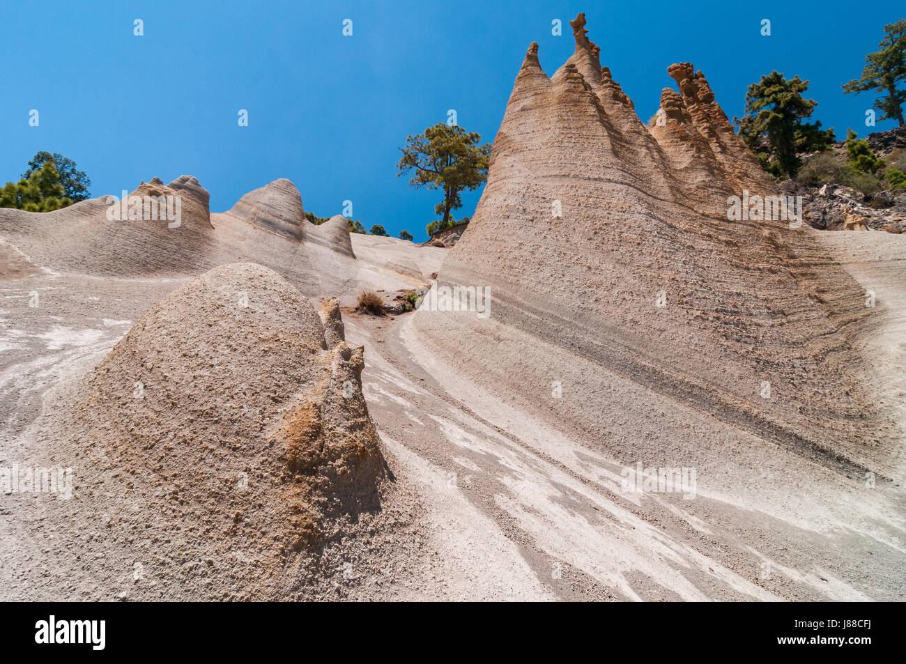 Paisaje Lunar Landschaft, die Erosion von Klippen, Teneriffa, Spanien Stockbild