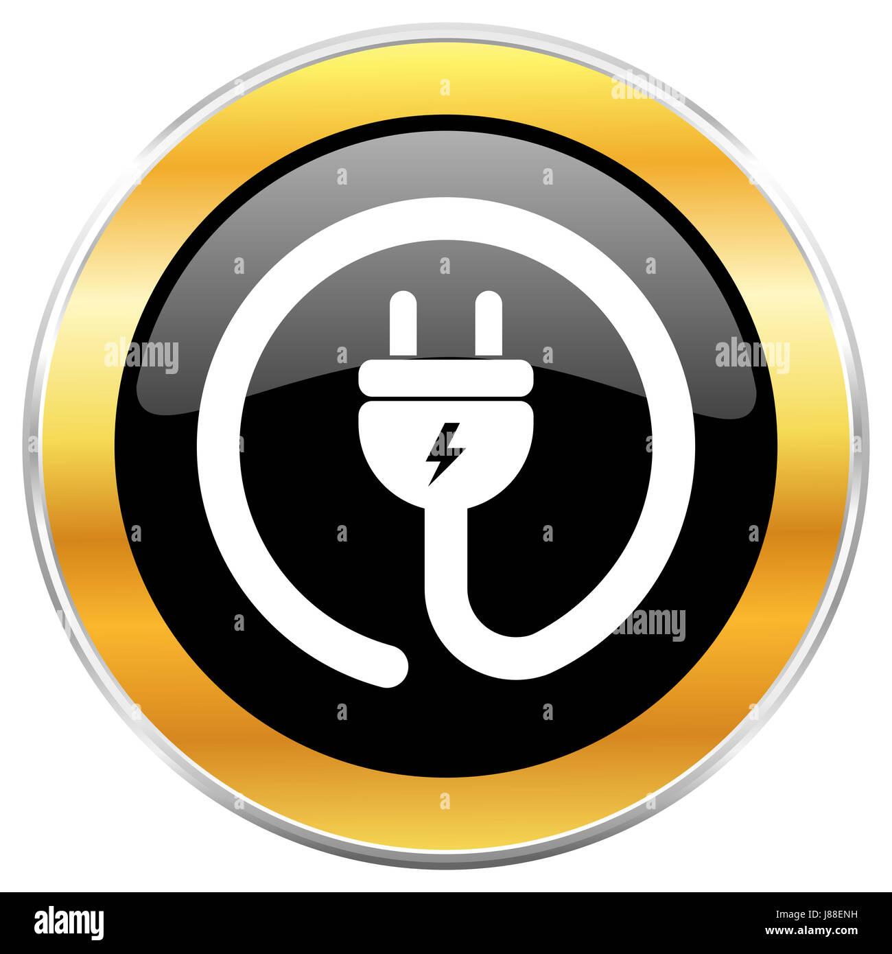 Elektrische Stecker schwarz Web-Symbol mit goldenen Rahmen isoliert ...