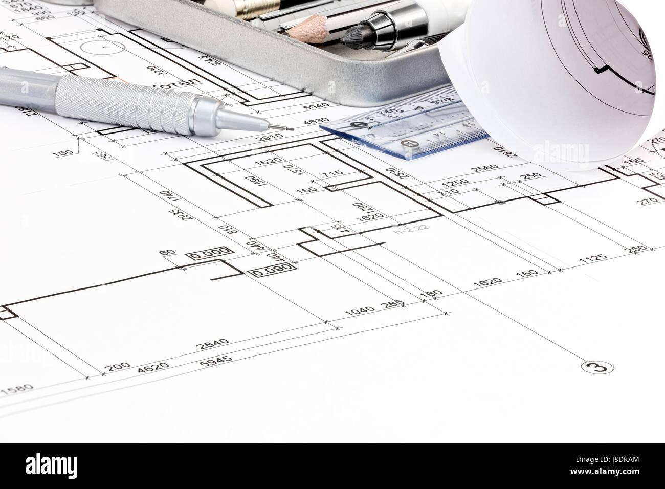 Haus Grundriss Pläne Und Werkzeuge Makro Zeichnungsansicht Stockbild