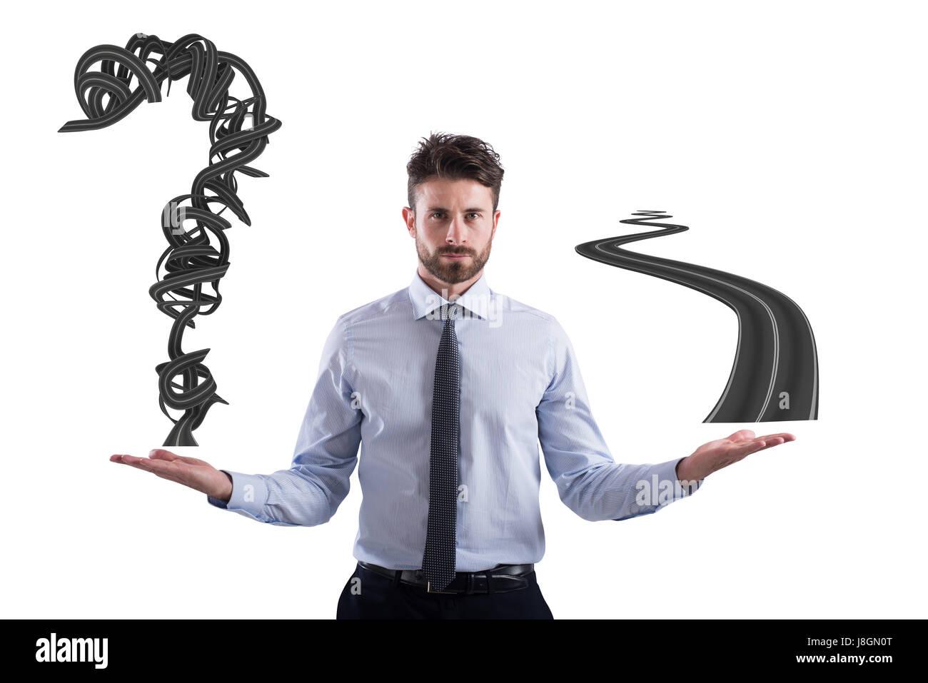 Leichte und schwere Weg für Business-Karriere Stockbild
