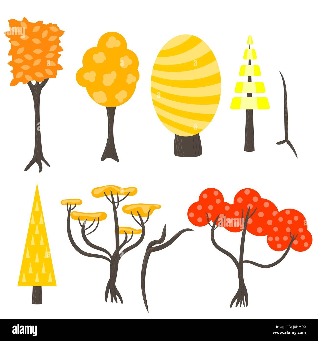 Vektor Baum Clip Kunst Natur Gesetzt Wald Herbst Herbst Gelb Rote Baume Im Flachen Stil Auf Weiss Stock Vektorgrafik Alamy