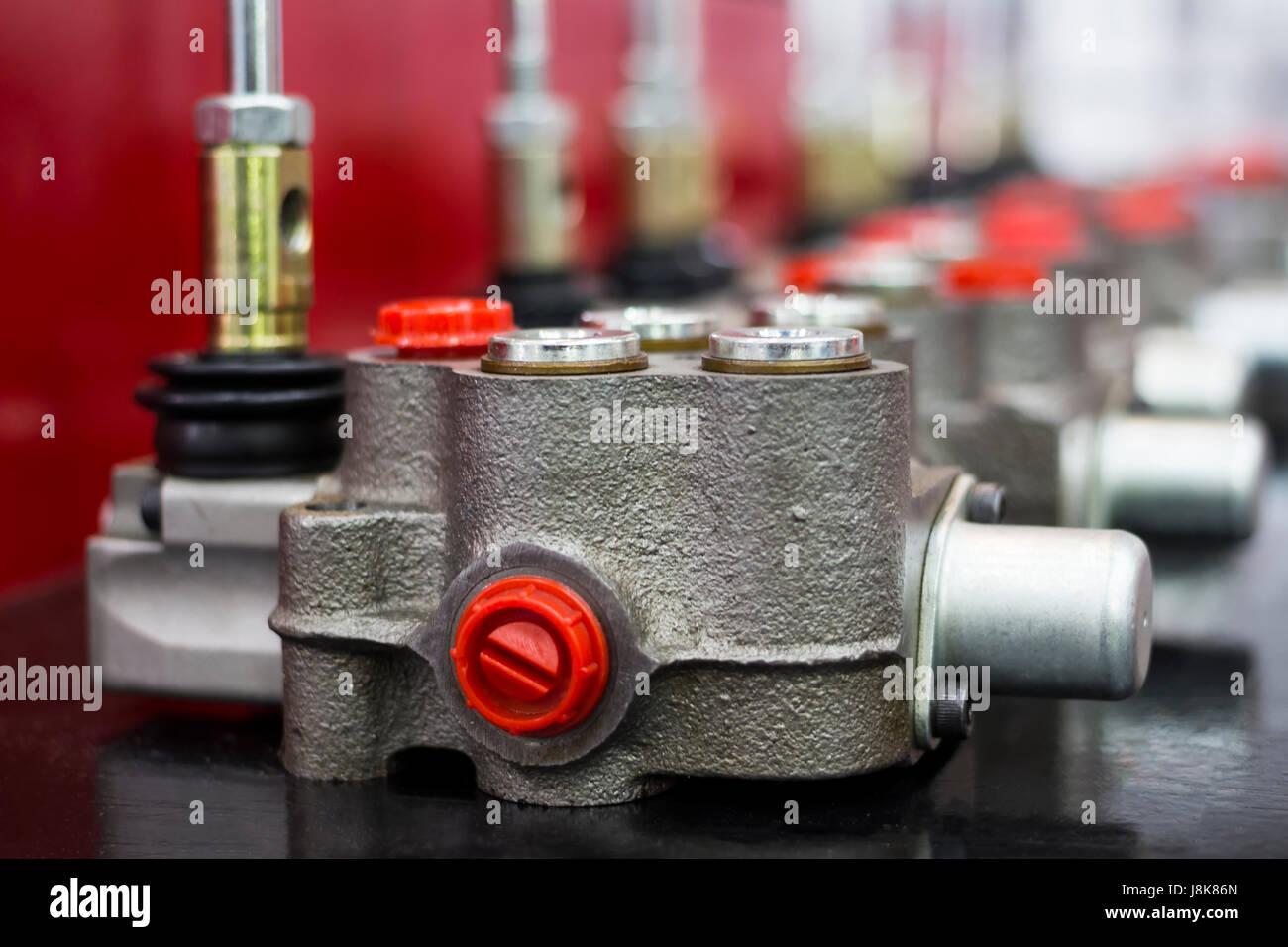 Aluminium Kokillenguss Teil Montage in Maschinenteile; Nahaufnahme Stockbild