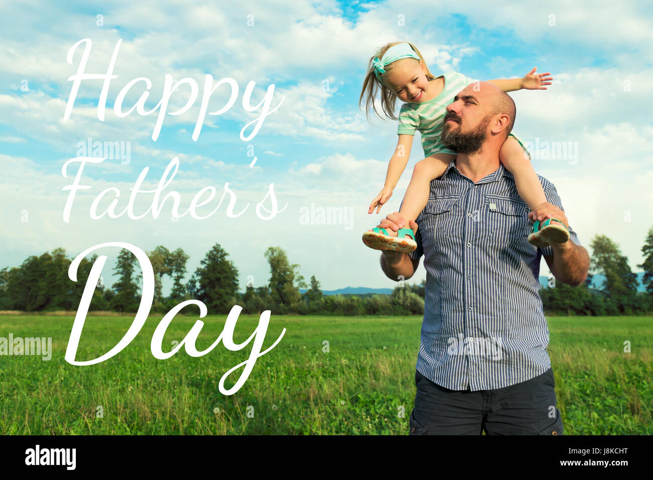 Entzückende Tochter und Vater Portrait, glückliche Familie, Vatertag Konzept Stockbild