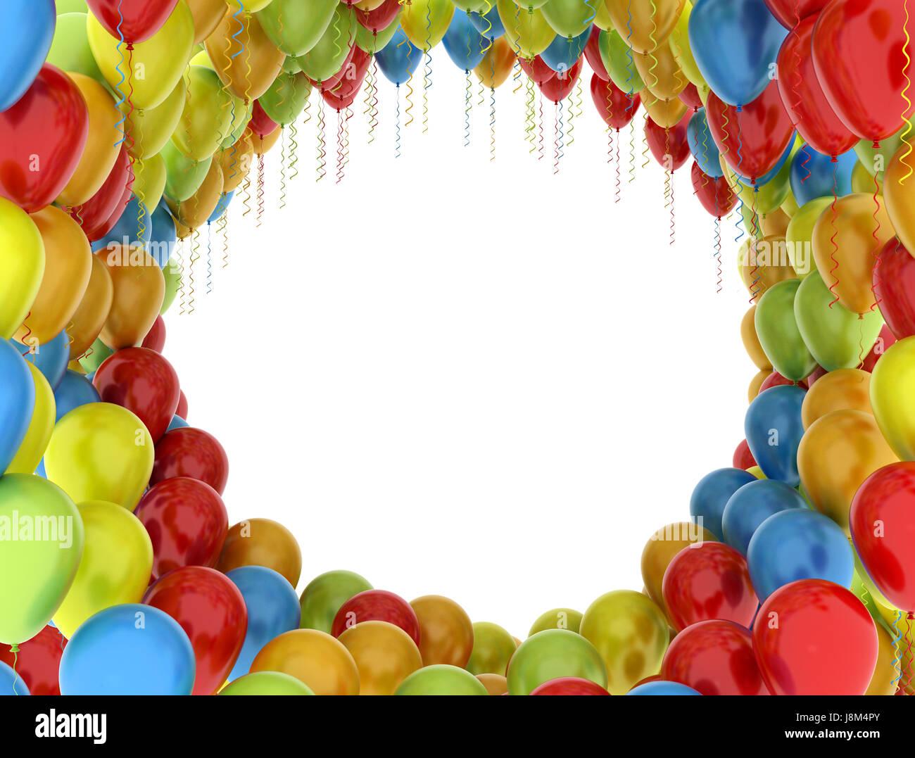 Party, Feier, Ballons, Ballon, Rahmen, Gruppe, Farben, Farben, weiß ...