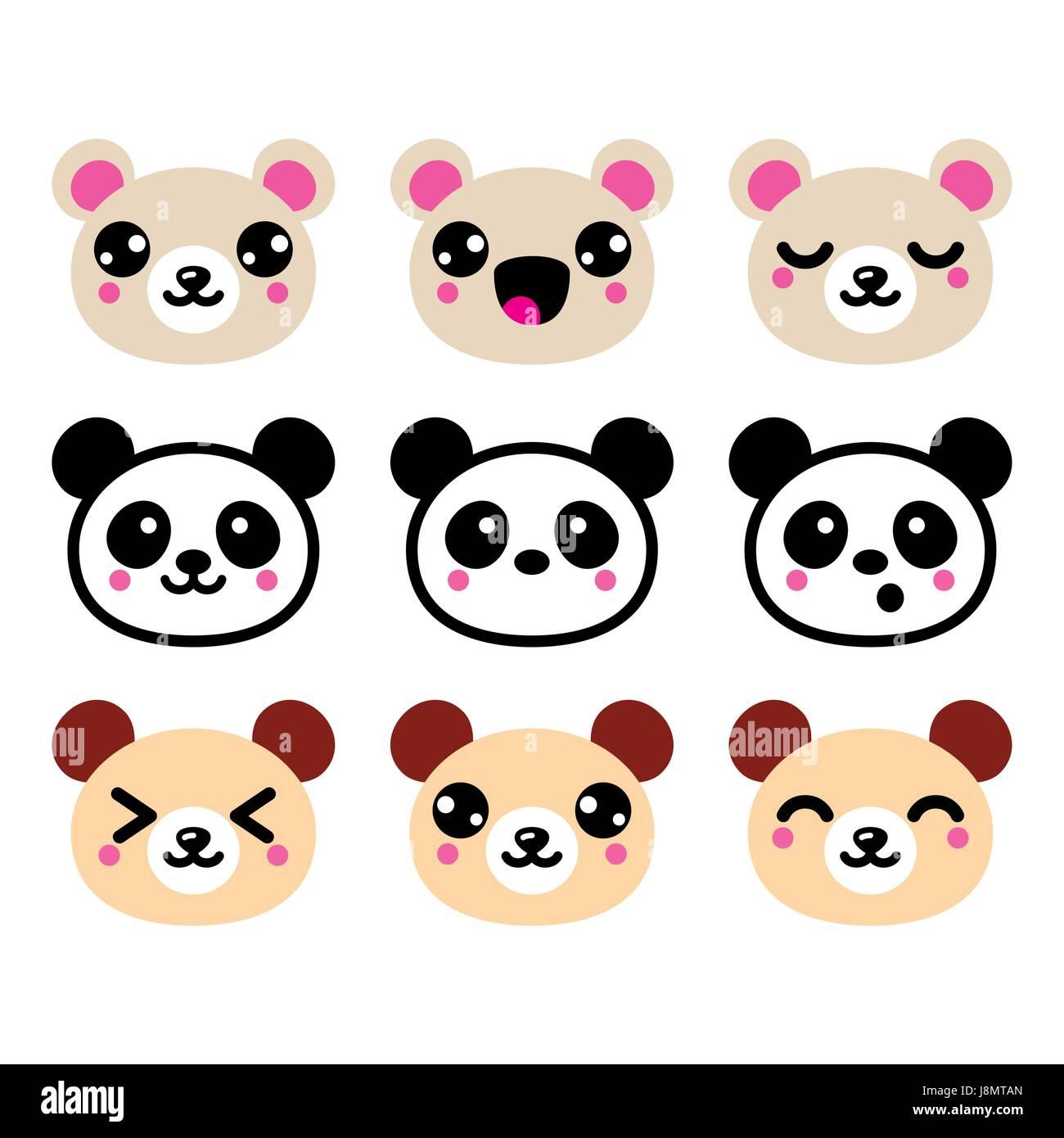 Cute Kawaii Bar Ikonen Satz Panda Design