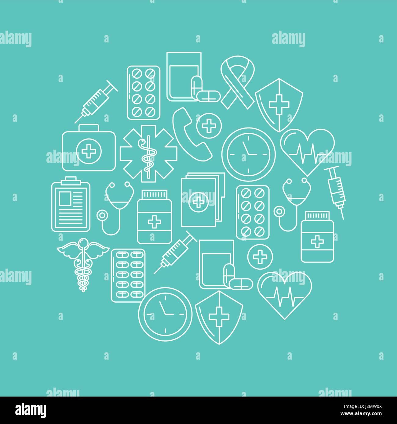 rundes Symbol Gesundheit Geist Stockbild