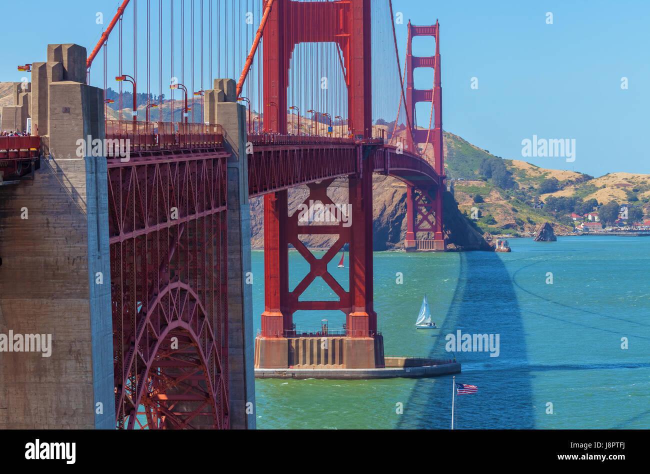 Die berühmte Golden Gate Bridge in San Francisco, usasu Stockbild