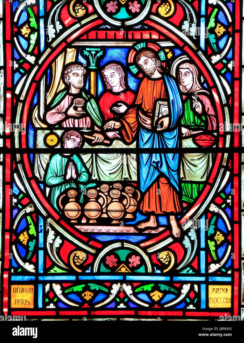 Szene aus dem Leben Jesu, von Adolph Didron, Paris, 1860, gebeizt Glas Fenster, Feltwell, Norfolk. Jesus in Kana Stockbild