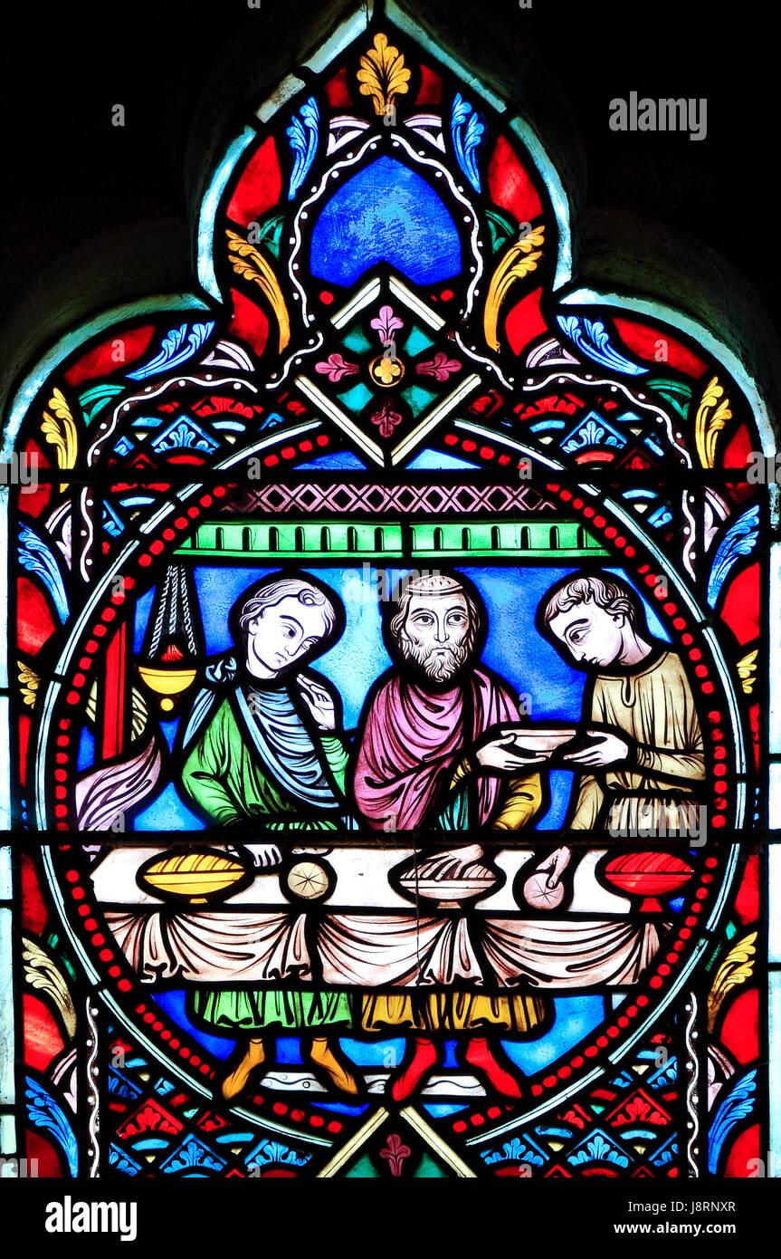 Gleichnis vom verlorenen Sohn, von Adolph Didron von Paris, 1859.  Glasfenster, Feltwell Kirche, The Lost Son speist Stockbild
