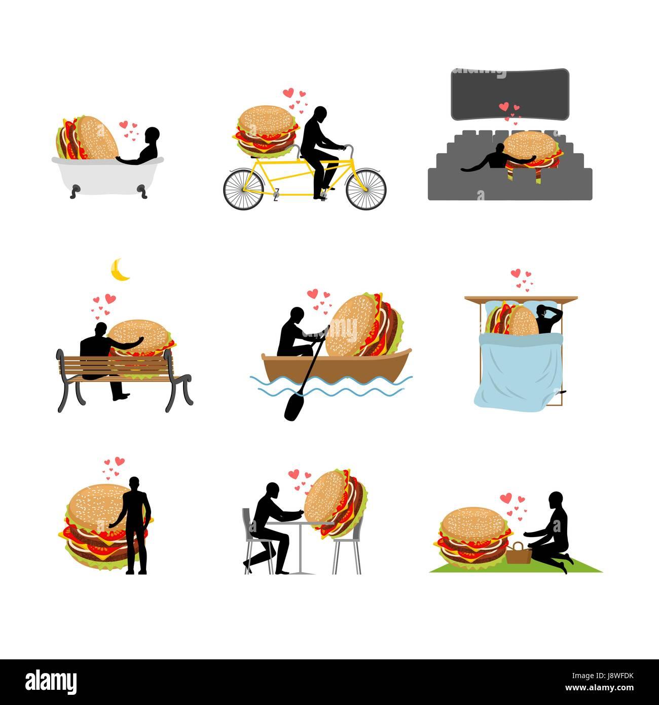 Liebhaber Fast Food Satz Mann Und Hamburger In Kino Liebhaber In
